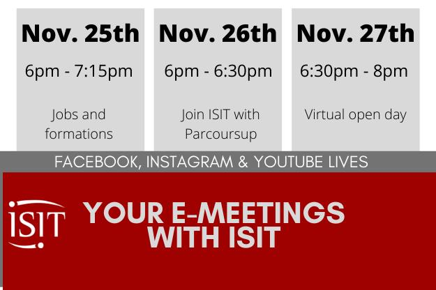 Your e-Meetings with ISIT - From November 25th to 27th, 2020
